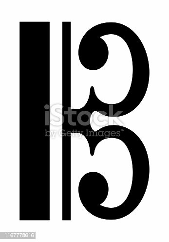 C Clef icon isolated on white background