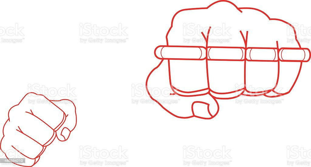 Clenched fists holding brass-knuckle. Punch. Contour vector art illustration
