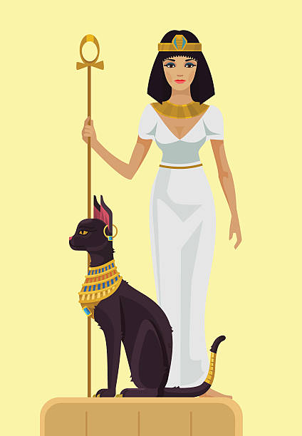cleopatra und black cat. vektor flache illustrationen - nofretete stock-grafiken, -clipart, -cartoons und -symbole