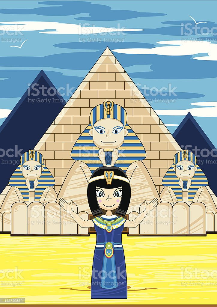 Cleopatra and the Great Sphinx Scene vector art illustration