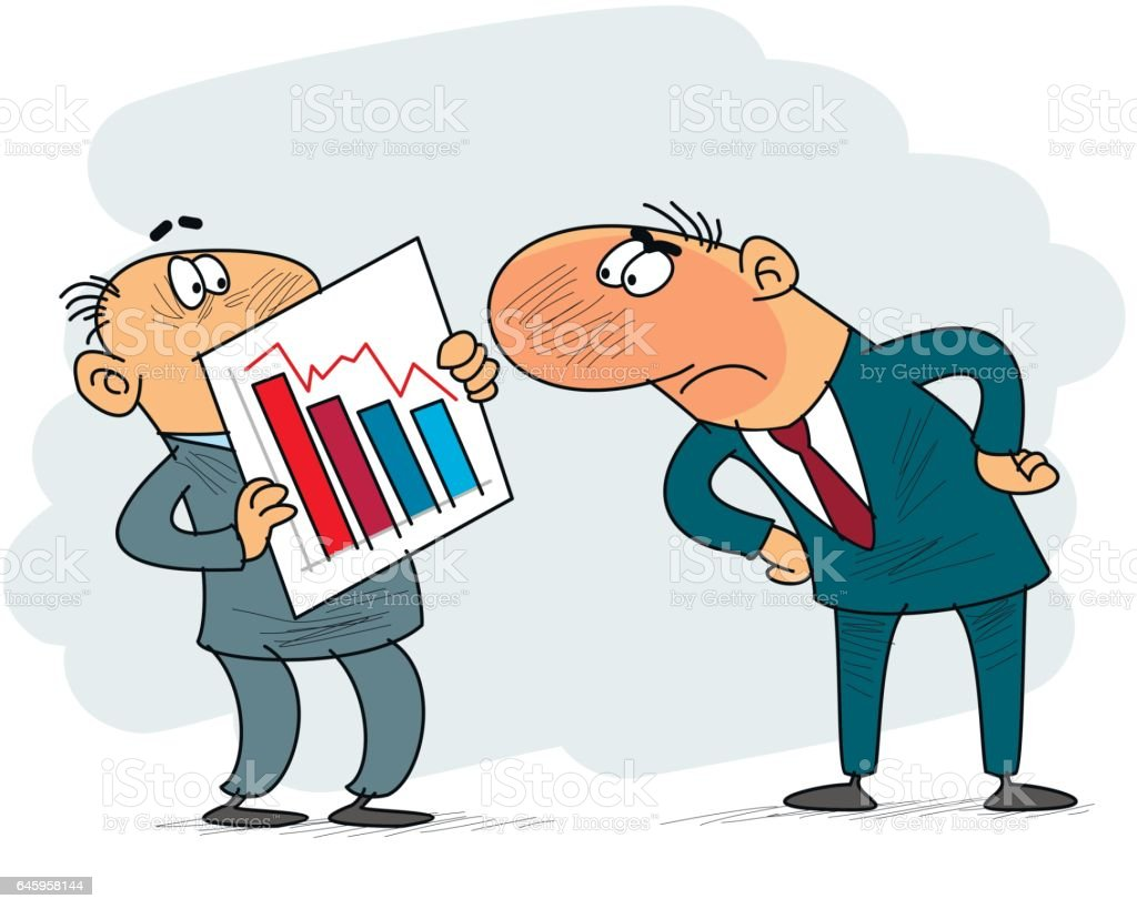 Clerk and boss vector art illustration