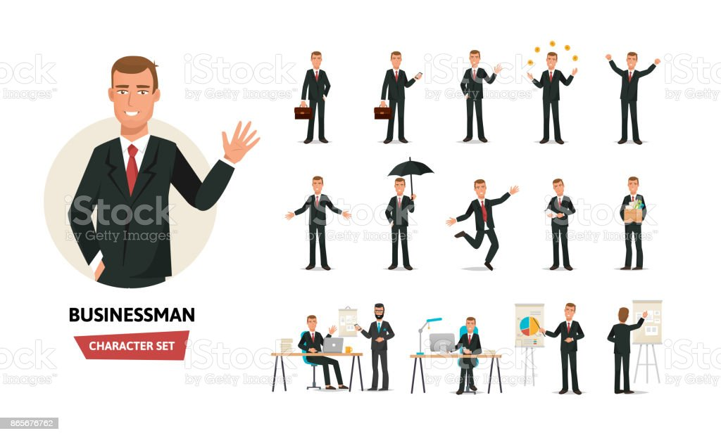 Clerk man in formal wear. Different poses, emotions, gestures, actions vector art illustration