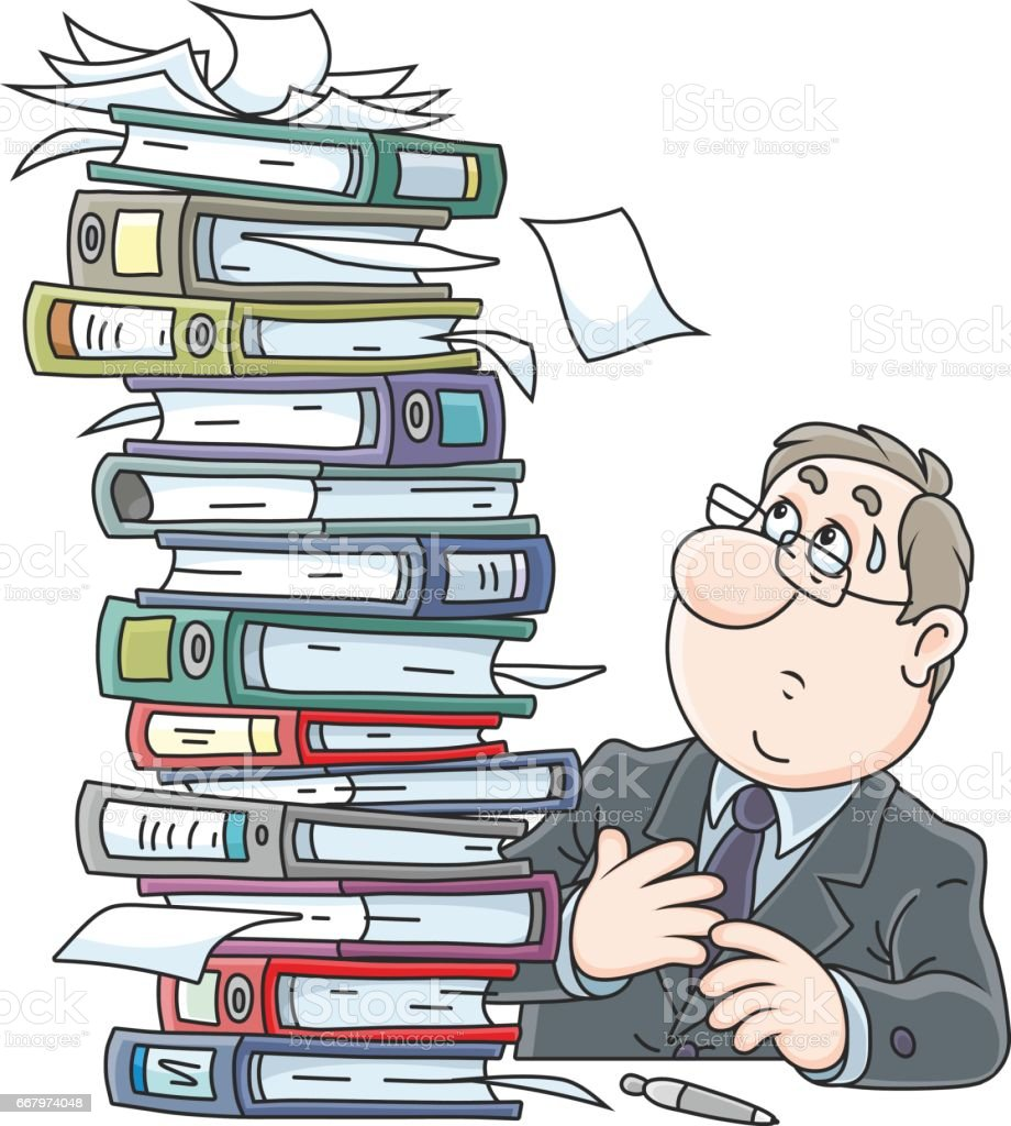 Clerk with folders vector art illustration