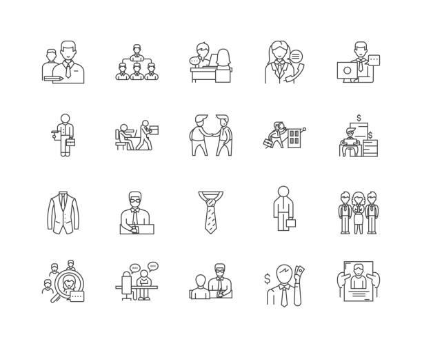 店員行アイコン、標識、ベクトルセット、輪郭イラストコンセプト - 窓口点のイラスト素材/クリップアート素材/マンガ素材/アイコン素材