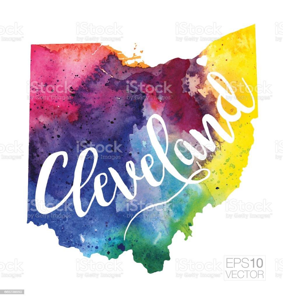 Cleveland Ohio Usa Vector Watercolor Map Stock Vector Art - Cleveland ohio usa map