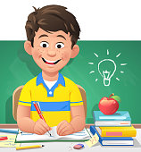 Vector illustration of a cute little boy learning in the classroom. On the blackboard behind him is a drawn light bulb. Concept for boys in school, cleverness, education, intelligence and students in preschool age.