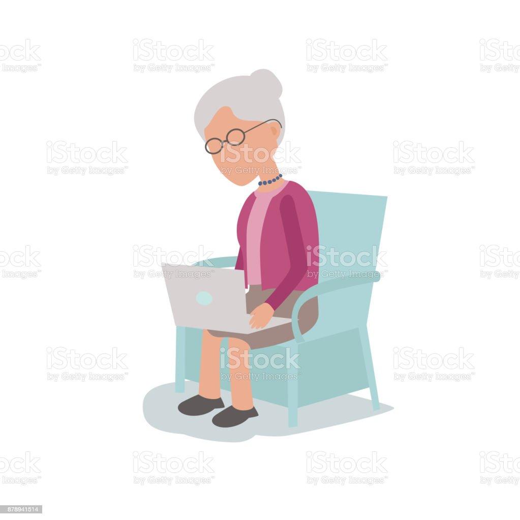 Clevere Computer versierte ältere Frau saß im Stuhl mit Laptop – Vektorgrafik