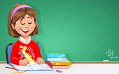 A cute little girl learning in the classroom in front of a blackboard. Vector illustration with space for text.
