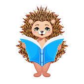 Clever hedgehog reading book. Vector Illustration.