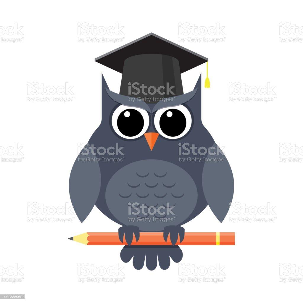 listo lechuza con lápiz y en la tapa de la graduación - ilustración de arte vectorial