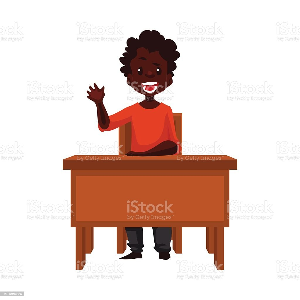 Clever school boy sitting at the desk, holding a book clever school boy sitting at the desk holding a book – cliparts vectoriels et plus d'images de admirer le paysage libre de droits