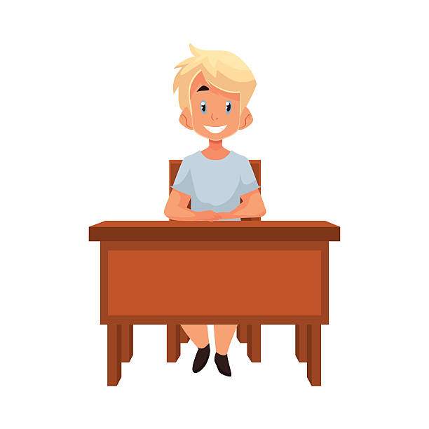 Clever School Girl: Royalty Free Chair Pose Clip Art, Vector Images