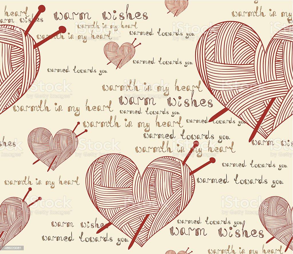 Clew Corazón Con Aguja De Tejer Patrón Perfecto - Arte vectorial de ...