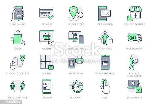 istock Click and collect service line icons. Vector illustration with icon - online shopping, qr code, basket, delivery, package, store outline pictogram for e-commerce. Green Color Editable Stroke 1298565501