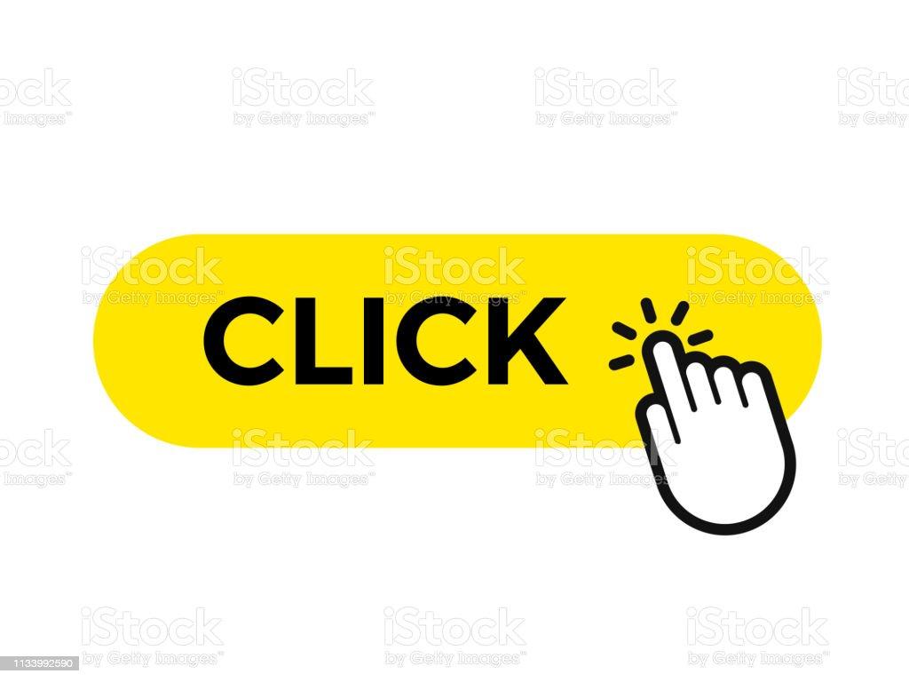 點擊欄和手指向量網頁按鈕圖示範本 - 免版稅互聯網圖庫向量圖形