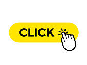 Click bar and finger vector web button icon template