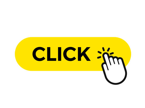 click bar and finger vector web button icon template - przycisk stock illustrations