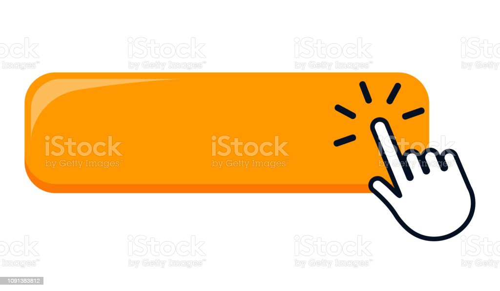 Click Blank Button With Hand Pointer Clicking Icon Stock