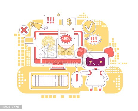 istock Click bot thin line concept vector illustration. Spam newsletter. Bad robot 2D cartoon character for web design. Automated links clicking and ads letters sending software creative idea 1304175761