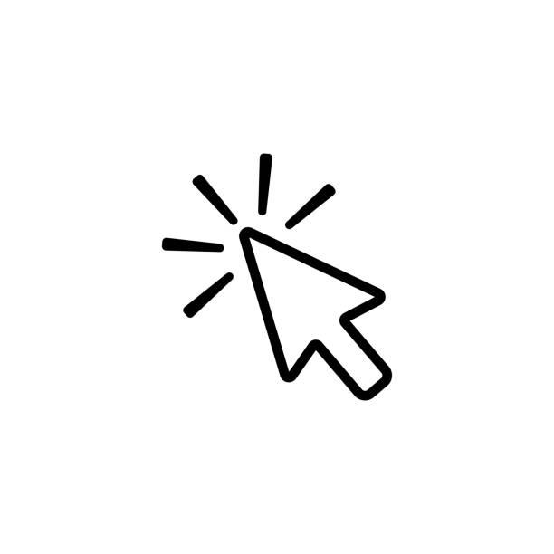 stockillustraties, clipart, cartoons en iconen met klik op contour pijl, pictogram om te klikken op vector pictogram - computermuis