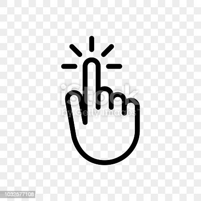 Click finger hand press or push vector icon on transparent background