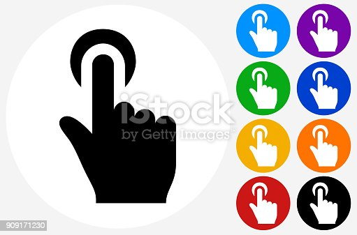 Click Hand Choise.The icon is black and is placed on a round blue vector button. The button is flat white color and the background is light. The composition is simple and elegant. The vector icon is the most prominent part if this illustration. There are eight alternate button variations on the right side of the image. The alternate colors are orange, red, purple, yellow, black, green, blue and indigo.