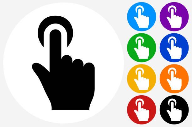 ilustraciones, imágenes clip art, dibujos animados e iconos de stock de haga clic en opción de la mano. - física