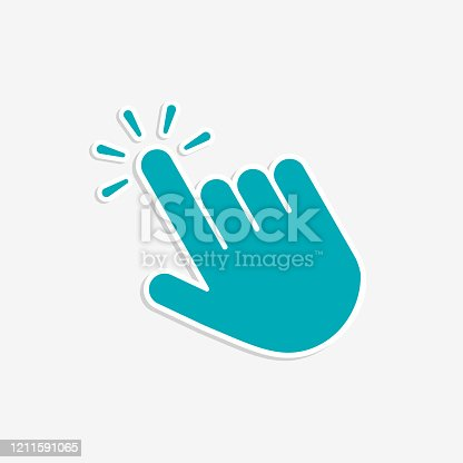 Click hand cursor icon in flat style