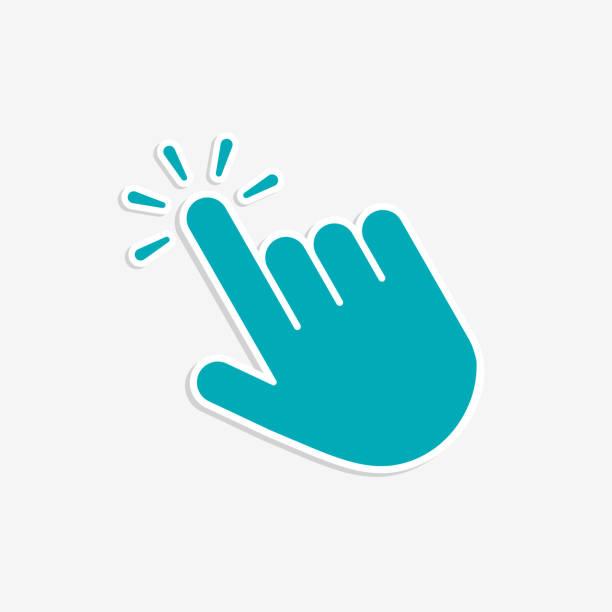Click hand cursor icon in flat style Click hand cursor icon in flat style mouse stock illustrations