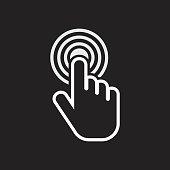 Click hand icon. Cursor finger sign flat vector. Illustration on black background.