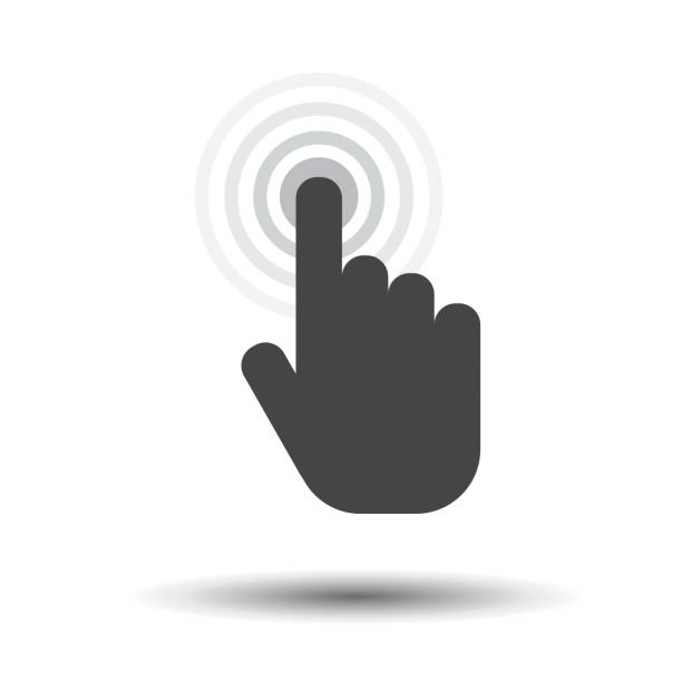 Click hand icon. Cursor finger sign flat vector. Illustration on white background. Click hand icon. Cursor finger sign flat vector. Illustration on white background. aiming stock illustrations