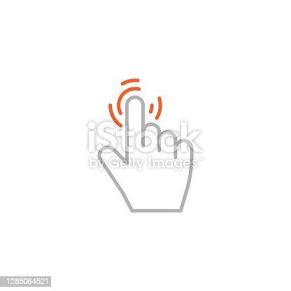 istock Click Hand Icon with Editable Stroke 1285064521
