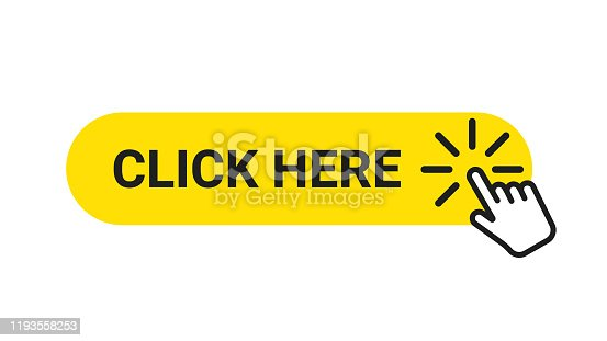 istock Click here banner. Web button with action of hand pointer. Click here, UI button concept 1193558253