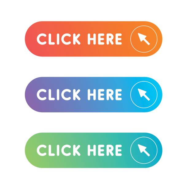 click here button set - przycisk stock illustrations