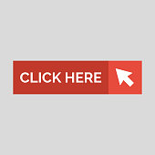 Click here flat button on grey background. Vector illustration