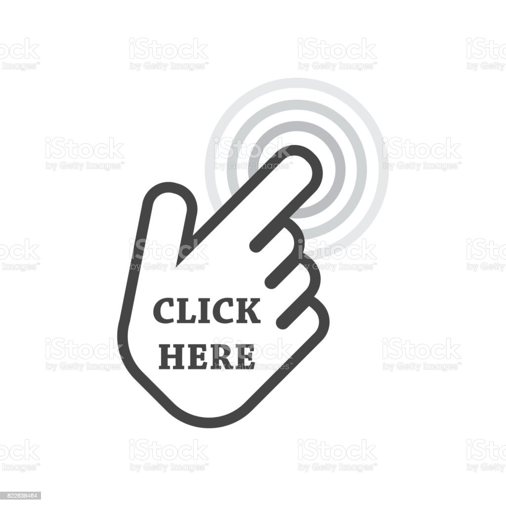 More Pictures Click Here: Click Here Icon Hand Cursor Signs Black Button Flat Vector