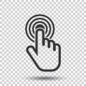Click here icon. Hand cursor signs. Black button flat vector illustration.
