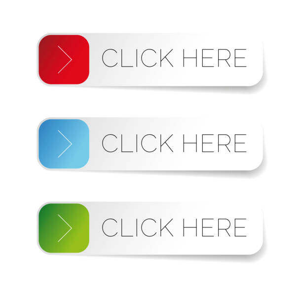 click here label with arrow - przycisk stock illustrations