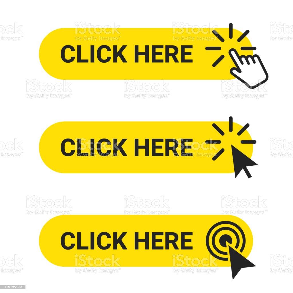 請點擊此處。具有滑鼠游標和手指標操作的 web 按鈕集。點擊這裡, 使用者介面按鈕的概念 - 免版稅一組物體圖庫向量圖形