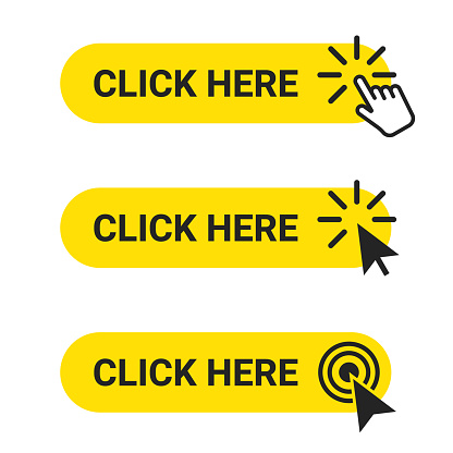 Click here. Set of web buttons with action of mouse cursor and hand pointer. Click here, UI button concept. Vector