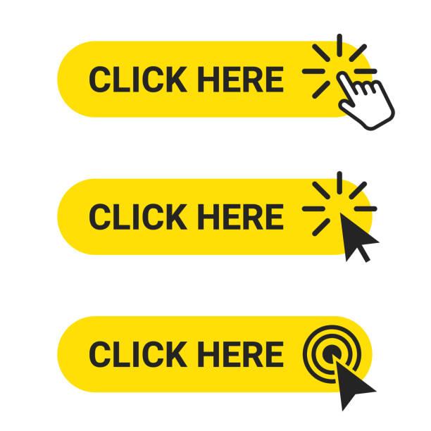 kliknij tutaj. zestaw przycisków internetowych z działaniem kursora myszy i wskaźnika ręcznego. kliknij tutaj, koncepcja przycisku interfejsu użytkownika - ruch stock illustrations
