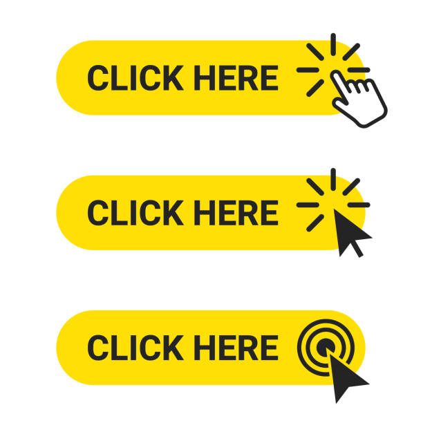 click here. set of web buttons with action of mouse cursor and hand pointer. click here, ui button concept - przycisk stock illustrations