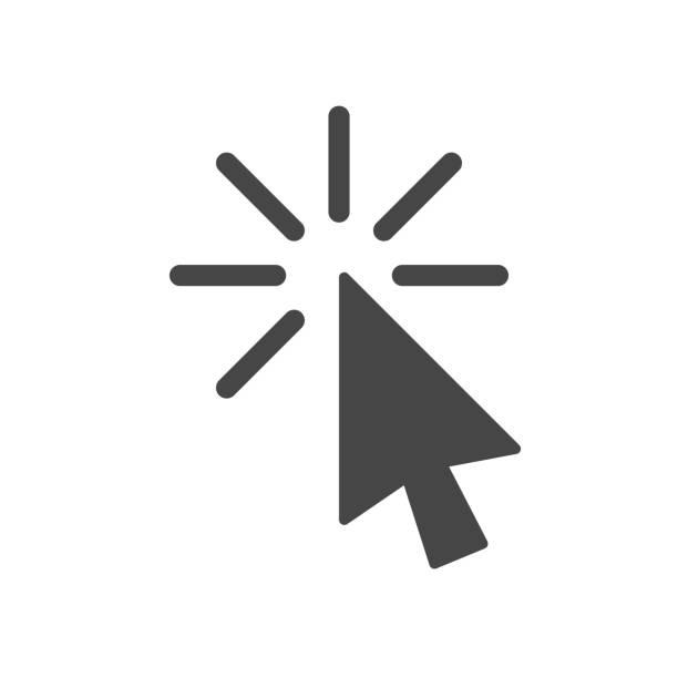 아이콘, 클릭 아이콘 벡터, 흰색 배경에 고립 된 유행 플랫 스타일에서을 클릭 합니다. 아이콘 이미지를 클릭, 클릭 아이콘 그림 - 커서 stock illustrations
