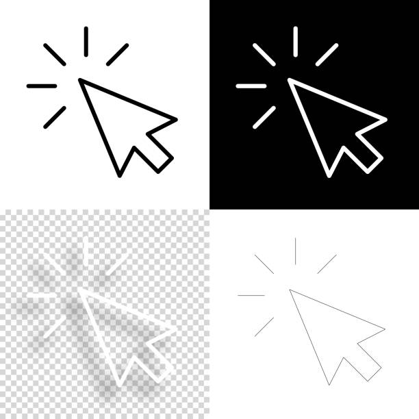 Click. Icon for design. Blank, white and black backgrounds - Line icon vector art illustration