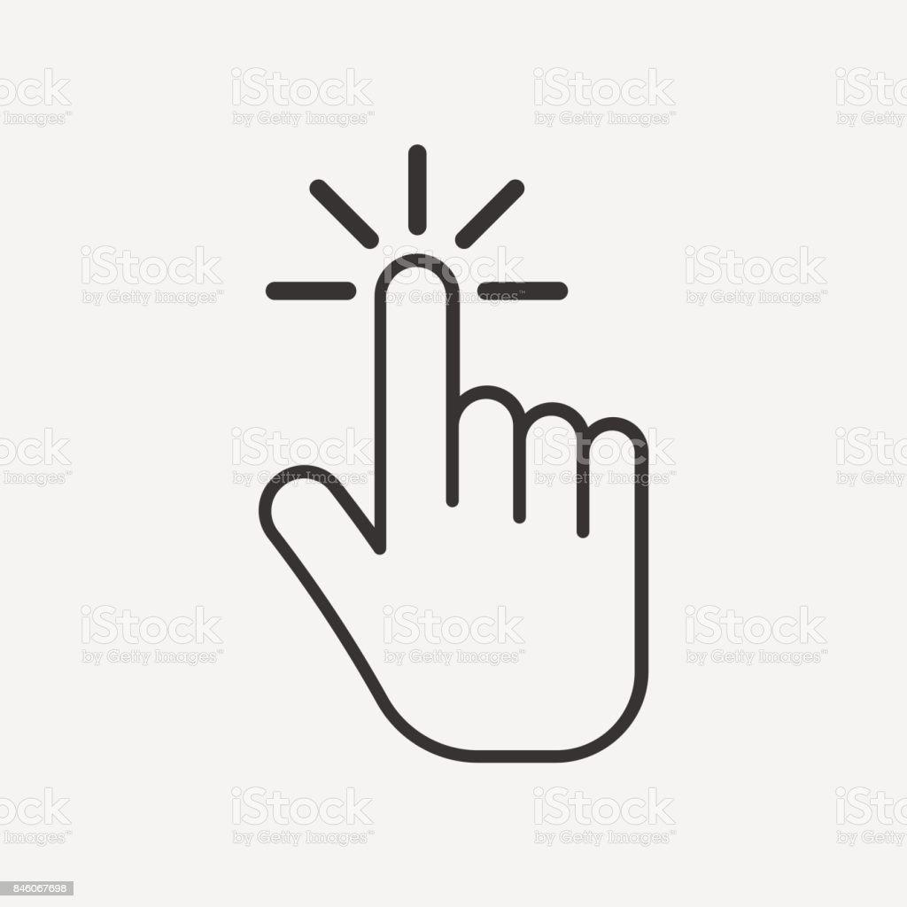 Haga clic en el icono. Icono de la mano. aislado sobre fondo. Ilustración de vector. - ilustración de arte vectorial