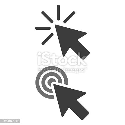 Click icon on white background. Vector Illustration