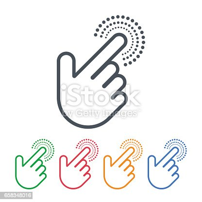 Vector design of click icons with hand cursors. Hand is pushing the button. Pointer symbols.