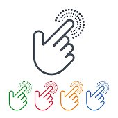 Click icons with hand cursors vector design. Pointer symbols.