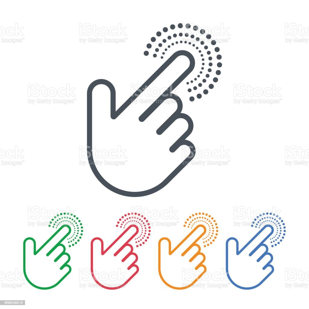Click icons with hand cursors vector design. Pointer symbols. vector art illustration