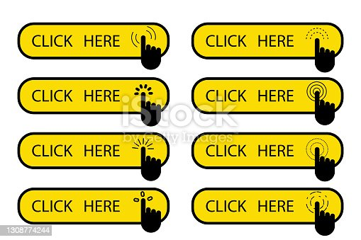 istock Click now in flat style. Website icon symbol. Hand click icon. Click here web button sign. Stock image. EPS 10. 1308774244